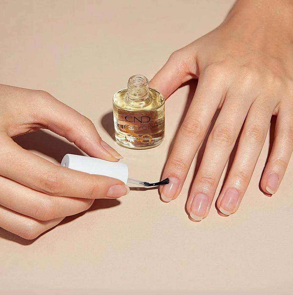 """Simply brush this on your nail beds once a day to condition and strengthen all those brittle spots and painful hangnails, leaving you with thick, strong nails and nail beds you're not tempted to pick at all the livelong day. And if you need more proof,<a href=""""https://www.amazon.com/gp/customer-reviews/R2BM2CSR5Y6PPM/ref=cm_cr_arp_d_rvw_ttl?ASIN=B0037MIMLW&ie=UTF8&tag=thehuffingtop-20"""" target=""""_blank"""" rel=""""noopener noreferrer"""">this reviewer has a great before-and-after picture</a>showing just how well this oil works.<br /><br /><strong>Promising review:</strong>""""It's a miracle!<strong>I had peeling, weak nails for years. Tried everything.</strong>A friend recommended a nail strengthener they saw on QVC. It was quite pricey and I wanted to make sure it was worth it so I read the reviews.<strong>One of the comments said just buy Solar Oil.</strong>Since it was much more affordable than the QVC stuff, I tried it. I bought it in February. This size bottle lasted a bit more than a month religiously applying it two to three times a day. I was really seeing great improvement so I bought another bottle in late March.<strong>By May, all the peeling had grown out and my nails were getting stronger every day</strong>. I then bought the big 4-ounce refill bottle because I never want to run out of it again!<strong>Cannot recommend this stuff enough!</strong>"""" —<a href=""""https://www.amazon.com/dp/B0037MIMLW?tag=huffpost-bfsyndication-20&ascsubtag=5861861%2C42%2C50%2Cd%2C0%2C0%2C0%2C962%3A1%3B901%3A2%3B900%3A2%3B974%3A3%3B975%3A2%3B982%3A2%2C16354281%2C0"""" target=""""_blank"""" rel=""""noopener noreferrer"""">Diana</a><br /><br /><strong>Get it from Amazon for<a href=""""https://www.amazon.com/dp/B0037MIMLW?tag=huffpost-bfsyndication-20&ascsubtag=5861861%2C42%2C50%2Cd%2C0%2C0%2C0%2C962%3A1%3B901%3A2%3B900%3A2%3B974%3A3%3B975%3A2%3B982%3A2%2C16354281%2C0"""" target=""""_blank"""" rel=""""noopener noreferrer"""">$8.50</a>.</strong>"""