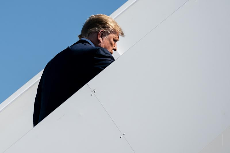President Donald Trump boards Air Force One for a trip to California from Albuquerque, N.M., Sept. 17, 2019. (Erin Schaff/The New York Times)
