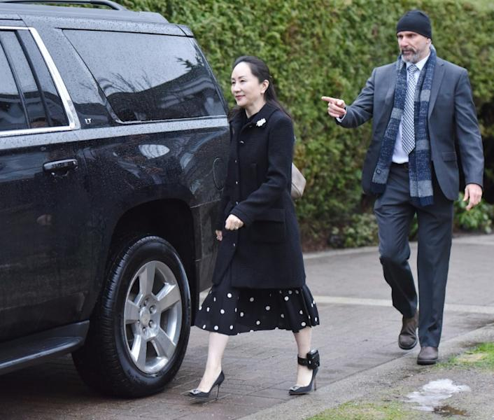 Huawei chief financial officer Meng Wanzhou leaves her Vancouver home to begin her extradition hearing in British Columbia Supreme Court, on January 20, 2020 in Vancouver, British Colombia