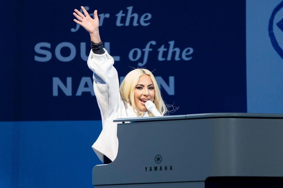 <p>Lady Gaga performs at a drive-in campaign rally for Joe Biden in Pittsburgh on Monday.</p>