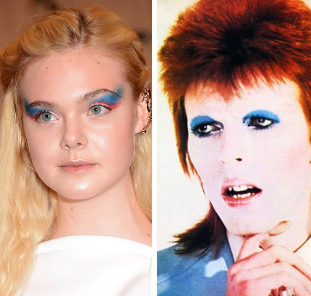 """<div class=""""caption-credit""""> Photo by: Getty Images</div><div class=""""caption-title""""></div><b>Elle Fanning vs. David Bowie</b> <br> The androgynous glam rock singer wasn't exactly punk, but he was a British musician in the 1970s who was a total fashion chameleon. We think the youngest Fanning sister had him in mind when applying her blue eye makeup. <br>"""