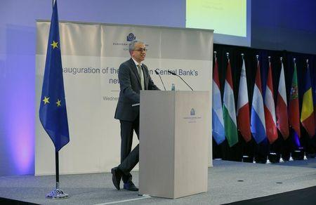 Tarek Al-Wazir makes a speech during the inauguration of the ECB's new headquarters in Frankfurt