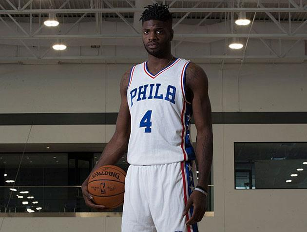 "<a class=""link rapid-noclick-resp"" href=""/nba/players/5157/"" data-ylk=""slk:Nerlens Noel"">Nerlens Noel</a> gets ready. (Getty Images)"