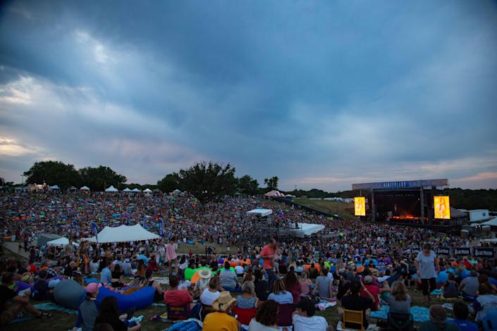 Festivalgoers watch Kacey Musgraves perform at Hinterland in St. Charles, Iowa, on Aug. 2, 2019.