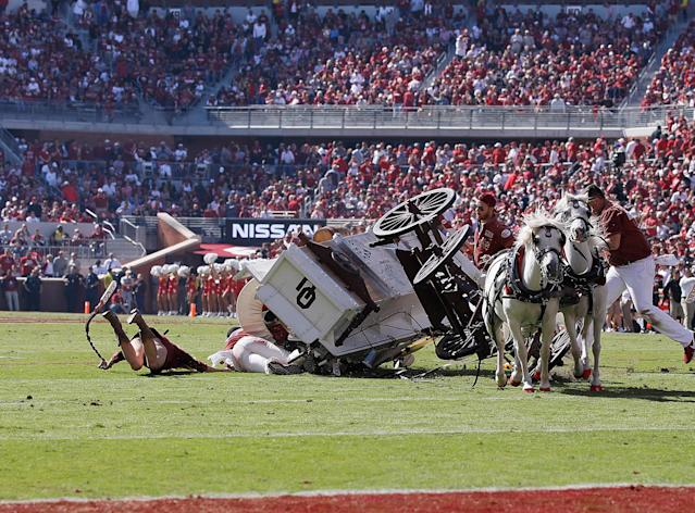 The Sooner Schooner crashed hard on Saturday. Thankfully everyone involved was OK. (Photo by David Stacy/Icon Sportswire via Getty Images)