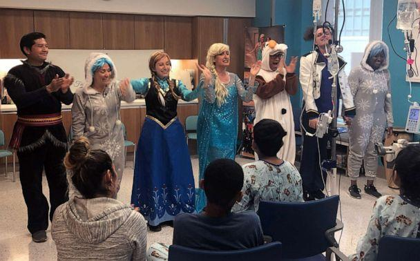 PHOTO: Fairytale Physical Therapy performers take a bow after their performance at New York Presbyterian Hospital. (ABC News)