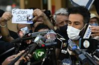 Leopoldo Luque, the personal physician of Argentine football legend Diego Maradona, gives an update on his condition outside a clinic in La Plata, Argentina, November 2020