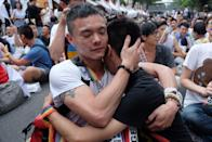 <p>In 2017, Taiwan became the first place in Asia to legalize same-sex marriage and this couple tearfully held each other knowing that equality was finally achieved. <br></p>