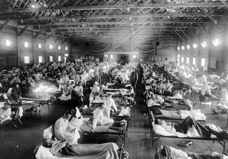 <strong>Influenza epidemic patients in an emergency hospital Kansas, USA during the 1918 Spanish influenza outbreak which killed around 50 million people worldwide.</strong> (Photo: SIPA USA/PA Images)