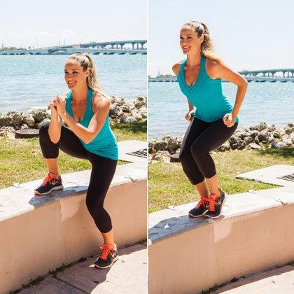 """<p>Not only does this side step-up squat work your entire lower half, it engages your core and pumps up your heart rate to increase overall calorie burn too! (Related: Like This Park Workout? Then You'll Love These <a href=""""https://www.shape.com/fitness/workouts/10-new-outdoor-workout-ideas"""" target=""""_blank"""">10 New Outdoor Workout Ideas</a>)</p> <ul><li>Begin in a <a href=""""https://www.shape.com/fitness/workouts/how-maximize-those-butt-toning-squats"""" target=""""_blank"""">squat position</a> with left foot on bench, hands together, elbows bent in front of chest.</li> <li>Step up onto bench, pushing off right foot and tapping it lightly next to left (staying low in a squat position), driving elbows back by sides.</li> <li>Return to start. That's one rep. </li> </ul><p><strong>Do 15 reps per side.</strong></p>"""