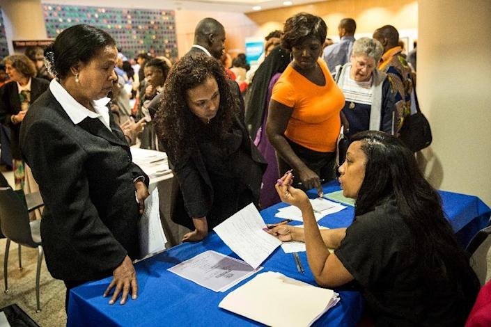 The better-than-expected US jobs number sent the unemployment rate down to 5.5 percent, from 5.7 percent previously (AFP Photo/Andrew Burton)