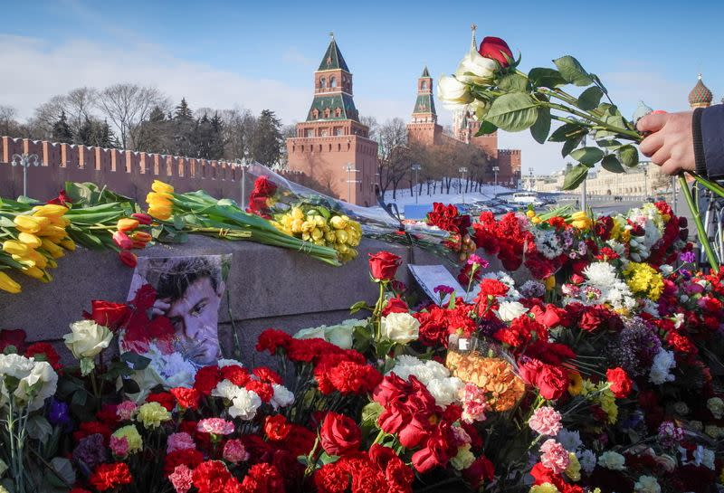 The 6th anniversary of the assassination of Russian opposition politician Boris Nemtsov in Moscow