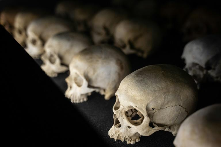 Victims' skulls are displayed at the Kigali Genocide Memorial in Kigali, Rwanda in an April 2021 picture