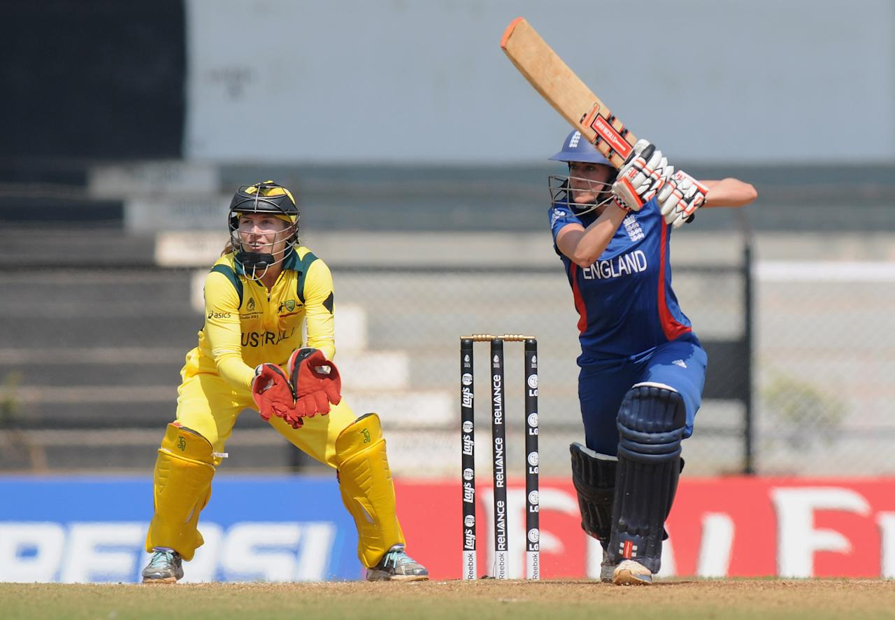 MUMBAI, INDIA - FEBRUARY 08:  Laura Marsh of England bats during the super six match  between England and Australia held at the CCI (Cricket Club of India)  on February 8, 2013 in Mumbai, India.  (Photo by Pal Pillai/Getty Images)