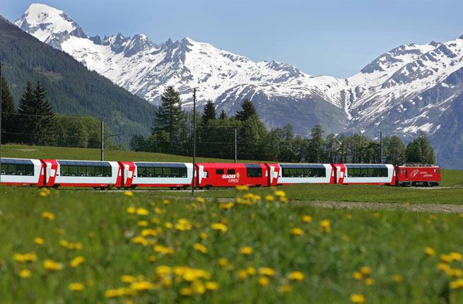 <p><strong>Where:</strong> Switzerland</p>  <p> </p>  <p> may be renowned for the quality and punctuality of its trains, but it's the majestic Alps—craggy and awe-inspiring against the brilliant blue sky—and sweeping chalet-and-cow-dotted green valleys that make the from to such a visual feast.</p>  <p> </p>  <p><strong>Fun fact:</strong> The train chugs through 91 tunnels and crosses 291 bridges on its seven-hour journey.</p>