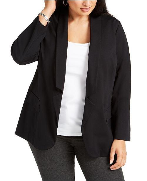 "<p>This <a href=""https://www.popsugar.com/buy/Alfani-Plus-Size-Notched-Collar-Open-Front-Blazer-496272?p_name=Alfani%20Plus%20Size%20Notched-Collar%20Open-Front%20Blazer&retailer=macys.com&pid=496272&price=110&evar1=fab%3Aus&evar9=46699597&evar98=https%3A%2F%2Fwww.popsugar.com%2Ffashion%2Fphoto-gallery%2F46699597%2Fimage%2F46699600%2FAlfani-Plus-Size-Notched-Collar-Open-Front-Blazer&list1=shopping%2Cfall%20fashion%2Cfall%2Cjackets%2Ccurve%2Cmacys%2Ccurve%20fashion&prop13=mobile&pdata=1"" rel=""nofollow"" data-shoppable-link=""1"" target=""_blank"" class=""ga-track"" data-ga-category=""Related"" data-ga-label=""https://www.macys.com/shop/product/alfani-plus-size-notched-collar-open-front-blazer-created-for-macys?ID=9455109&amp;CategoryID=46203&amp;swatchColor=Malbec"" data-ga-action=""In-Line Links"">Alfani Plus Size Notched-Collar Open-Front Blazer</a> ($110) will be a staple in your wardrobe.</p>"