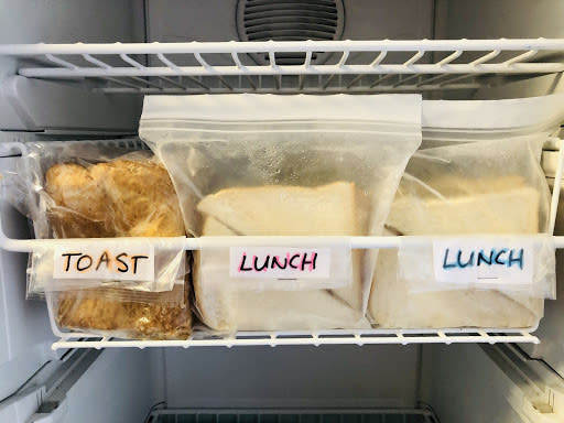"<span>Buy cheaper bread for toast & snap freeze fresh bread.</span>Source: Supplied/<a href=""http://instagram.com/peninapetersen"" rel=""nofollow noopener"" target=""_blank"" data-ylk=""slk:Penina Petersen"" class=""link rapid-noclick-resp""><span>Penina Petersen</span></a>"