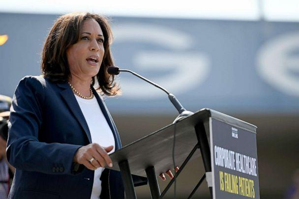 PHOTO: Democratic presidential hopeful Senator Kamala Harris speaks at a Labor Day rally for healthcare workers and supporters, Sept. 2, 2019, in Los Angeles. (Robyn Beck/AFP/Getty Images)