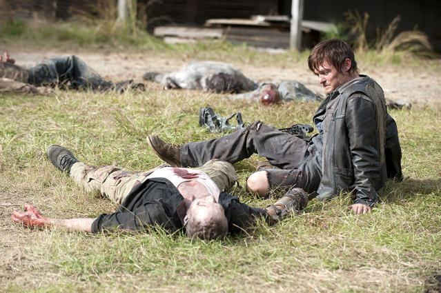 Michael Rooker as Merle Dixon and Norman Reedus as Daryl Dixon in AMC's <i>The Walking Dead</i>. (Photo: Gene Page/AMC)