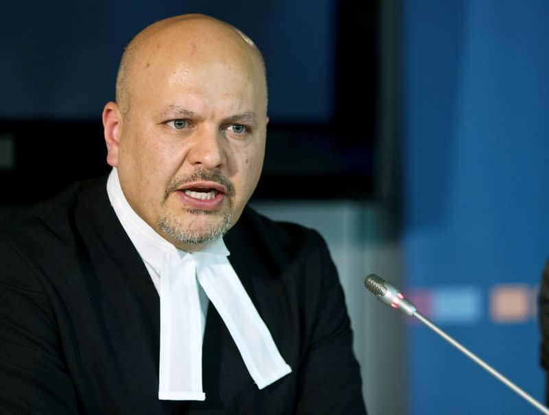 FILE PHOTO: Defence Counsel for Kenya's Deputy President Ruto, Khan attends a news conference at the ICC in The Hague