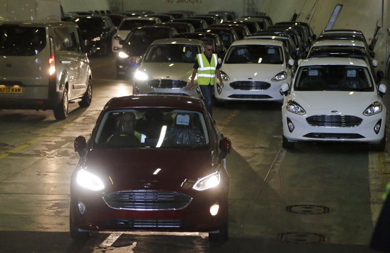 Ford cars arrive via ship at the Ford Dagenham diesel engine plant in London, Friday, July 21, 2017 for further delivery. (AP Photo/Frank Augstein)