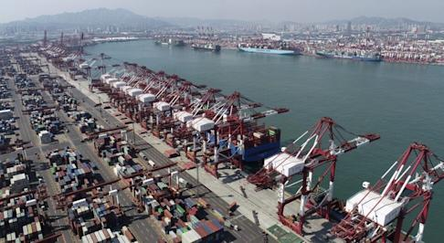 Qingdao container port in eastern China's Shandong province. Photo: Chinatopix via AP