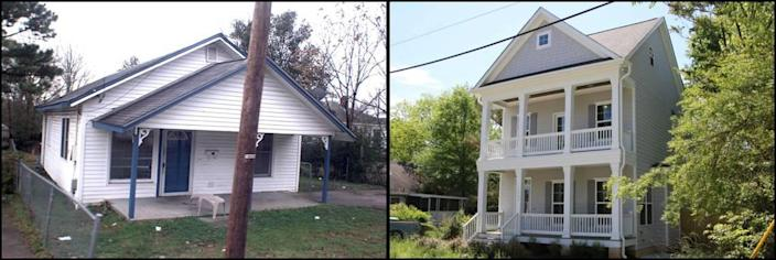 Photos of the home at 1506 E. Jones Street on December 6, 2011, left, and April 24, 2019.