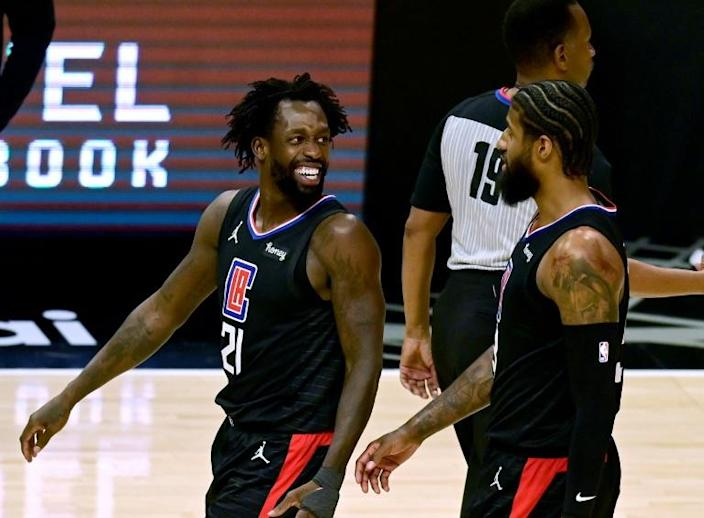 Los Angeles Clippers Patrick Beverley, left, and Paul George were all smiles as the Clippers beat the Los Angeles Lakers
