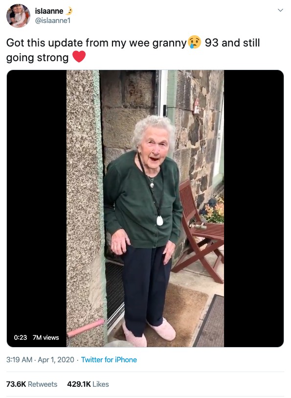 Screengrab of Twitter post with wee granny video