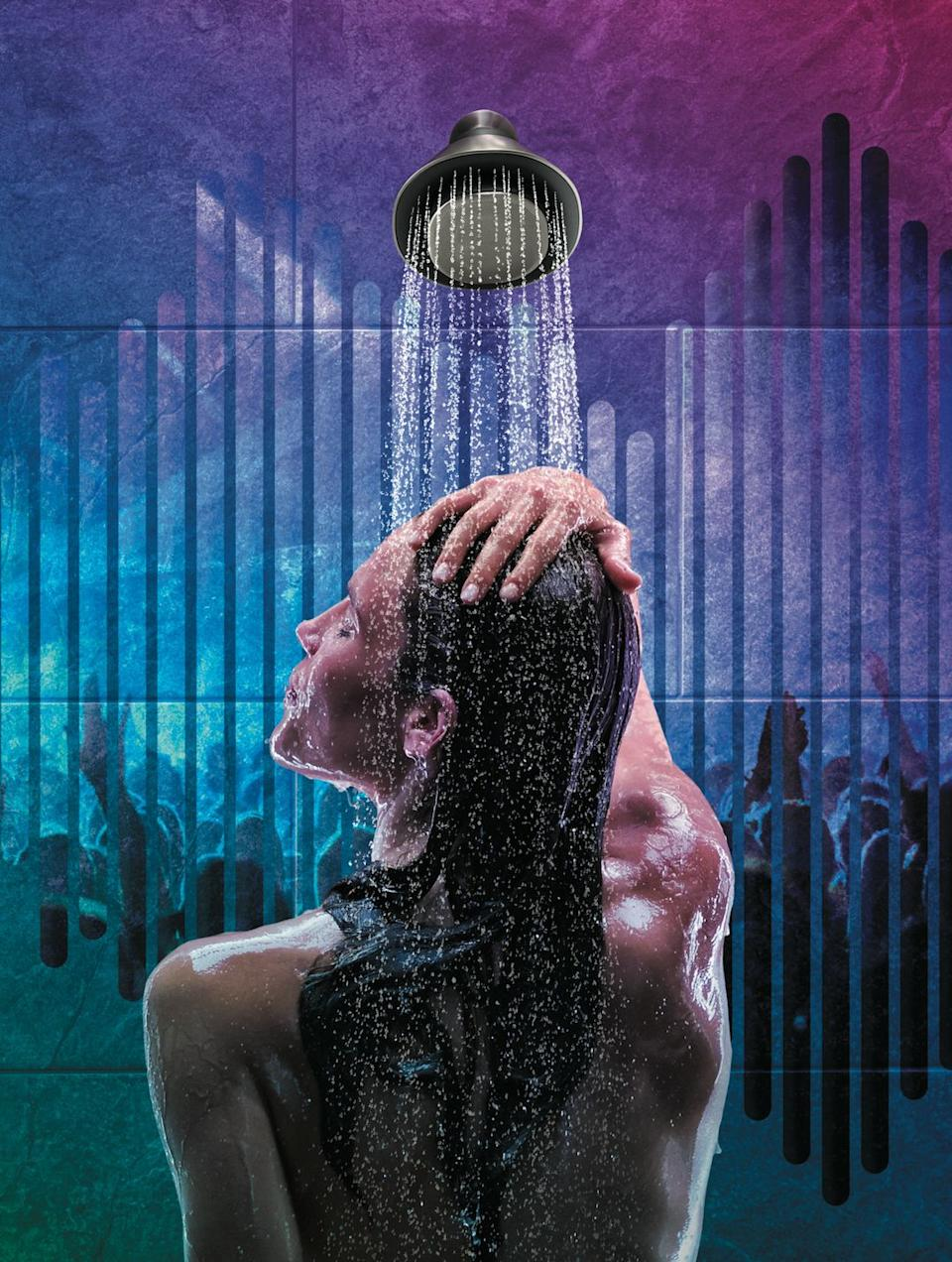 """Used to be that people sang in the shower. But thanks to <a href=""""https://www.smarthome.kohler.com/smart-shower-speaker-moxie"""" target=""""_blank"""" rel=""""noopener noreferrer"""">this showerhead that includes Bluetooth,</a> your shower now sings to you."""
