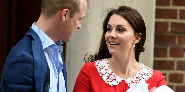 Prince William and Catherine, Duchess of Cambridge leave the Lindo Wing at St. Mary's Hospital with their newborn son on Monday.