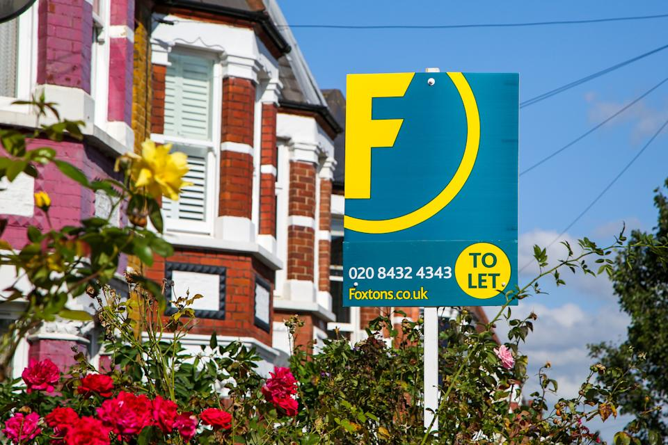 A Foxtons estate agent's 'To Let' sign seen outside a residential property in London. Photo: Dinendra Haria/SOPA Images/Sipa USA