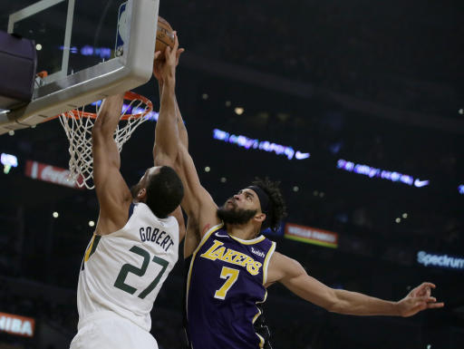 LeBron leads Lakers over Jazz for 1st win of season