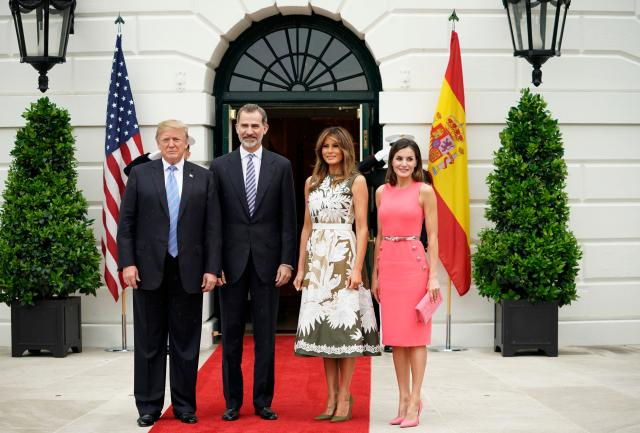 Donald and Melania Trump welcomed Spain's King Felipe VI and Queen Letizia to the White House. (Photo: Getty Images)