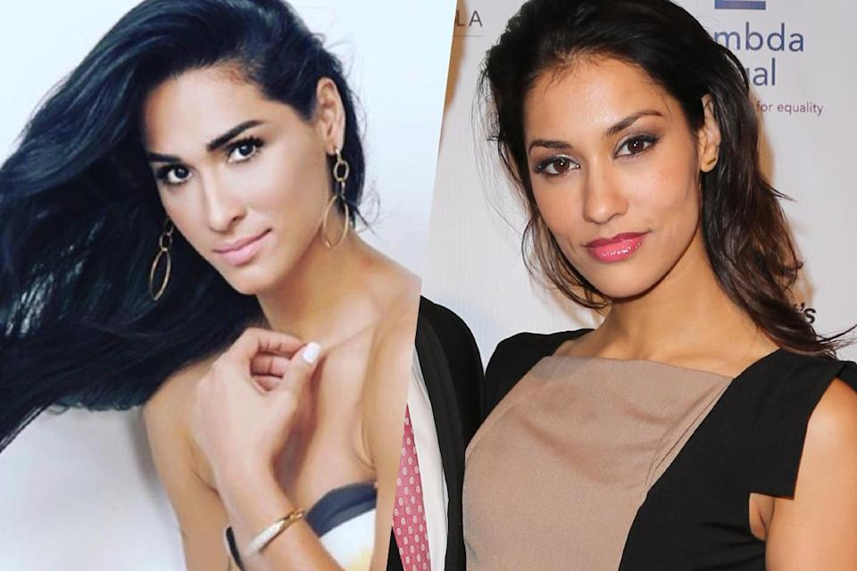 <p>Brazilian volleyball player Jaque Carvalho (left) and The League actress Janina Gavankar (right). </p>
