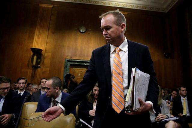 Office of Management and Budget Director Mick Mulvaney arrives at a Senate Budget Committee hearing on May 25. (Reuters/Yuri Gripas)