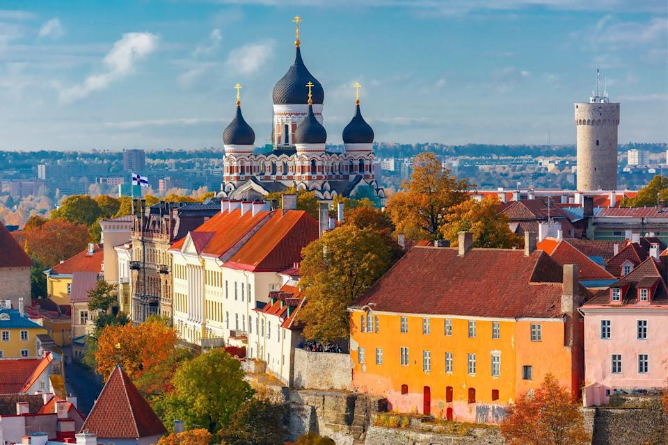 <p>Toompea hill with tower Pikk Hermann and Russian Orthodox Alexander Nevsky Cathedral, view from the tower of St. Olaf church, Tallinn, Estonia</p> (Getty Images/iStockphoto)