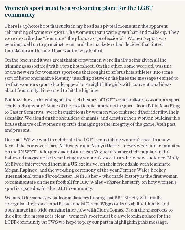 Women's sport must be a welcoming place for the LGBT community