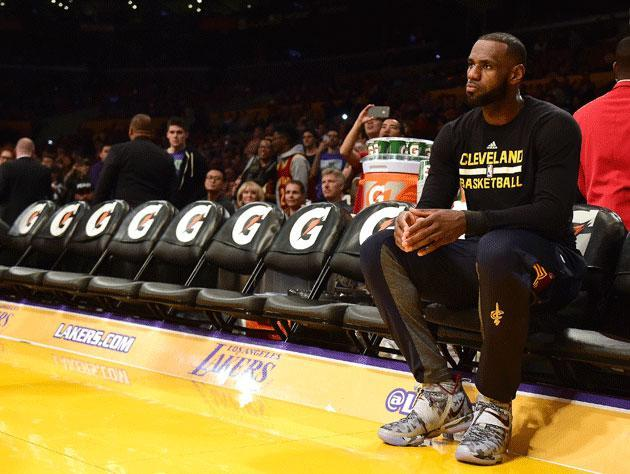 LeBron James sits in Los Angeles. (Getty Images)
