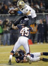 10ThingstoSeeSports - New Orleans Saints tight end Jimmy Graham (80) leaps over Chicago Bears free safety Brock Vereen (45) after receiving a pass from quarterback Drew Brees during the second half of an NFL football game Monday, Dec. 15, 2014, in Chicago. (AP Photo/Charles Rex Arbogast, File)