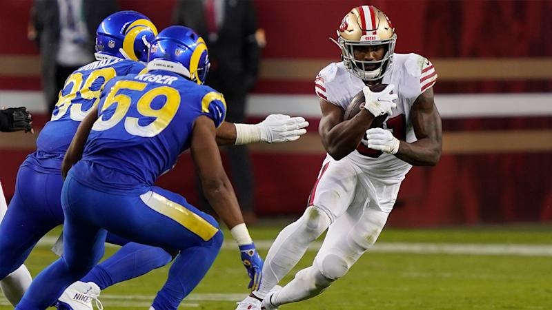 49ers' Raheem Mostert ruled out vs. Rams with ankle injury in second half