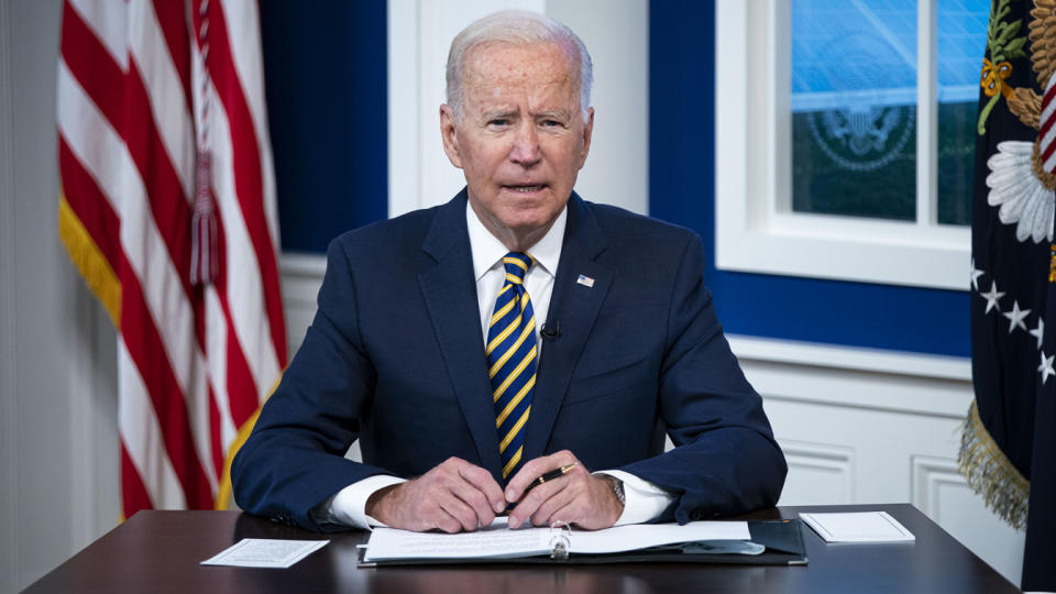 U.S. President Joe Biden speaks during a conference call on climate change with the Major Economies Forum on Energy and Climate in the South Court Auditorium in the Eisenhower Executive Office Building on September 17, 2021 in Washington, DC. (Al Drago/Getty Images)