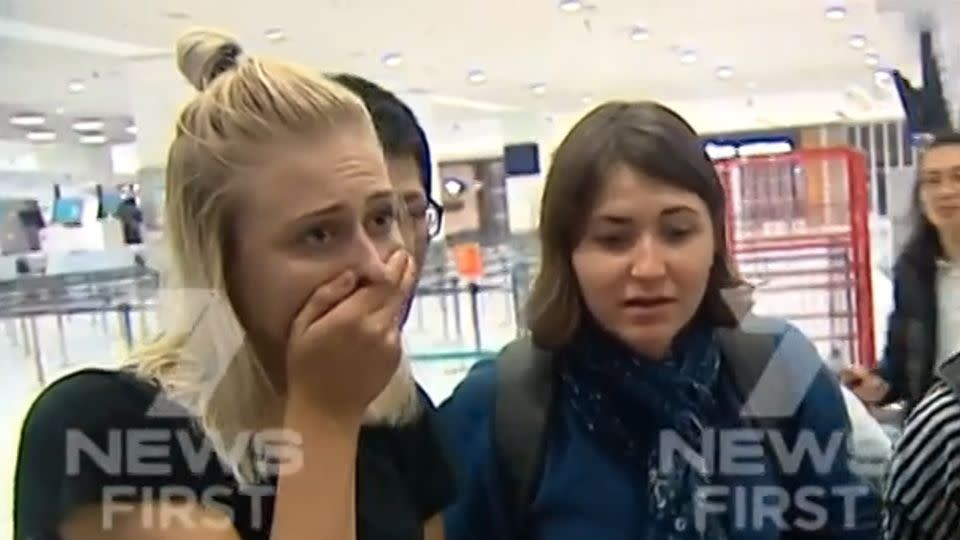 When 7 News showed a group of female passengers just how severe the damage to their plane was, they were left struggling for words. Source: 7 News