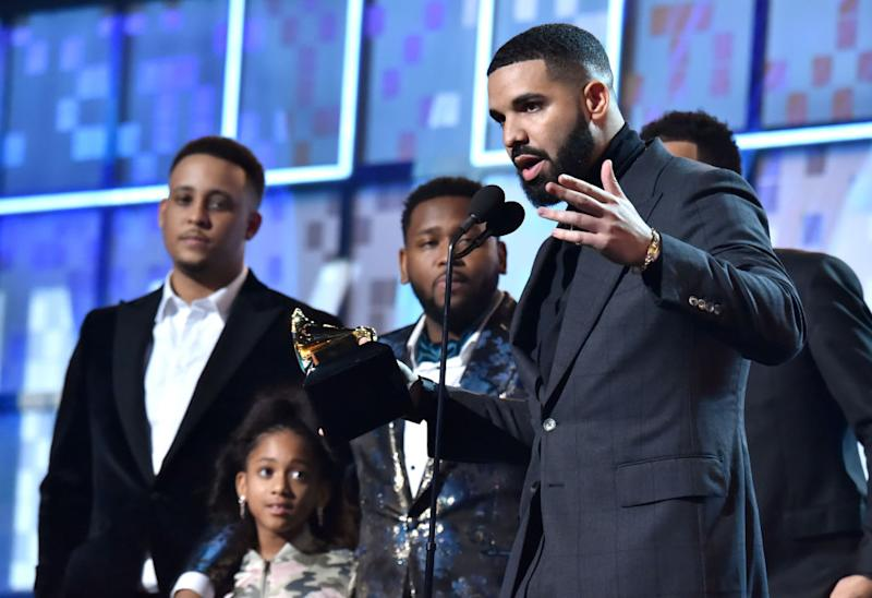 Drake accepts the Best Rap Song award for 'God's Plan' onstage during the 61st Annual GRAMMY Awards at Staples Center on Feb. 10, 2019 in Los Angeles. | Lester Cohen—Getty Images