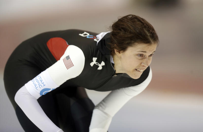 Maria Lamb looks up after competing in the women's 5,000-meter race at the U.S. Olympic speedskating trials Wednesday, Jan. 1, 2014, in Kearns, Utah. Lamb came in first place. (AP Photo/Rick Bowmer)