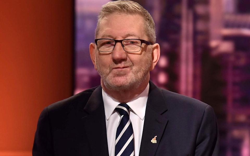 Len McCluskey said: 'Language is important and I apologise to Peter Mandelson and anyone else if mine has caused hurt' - JEFF OVERS/BBC/AFP via Getty Images