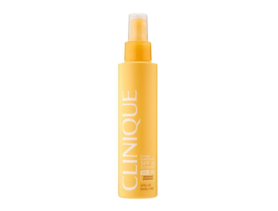 """<p>As far a SPF goes, it doesn't get much better than Clinique's Virtu-Oil™ Body Mist. The easy, sprayable mist negates any annoying cream applications, giving you all-over protection while you're facing all day in the sun. Plus, it smells bloody great. <br><a rel=""""nofollow noopener"""" href=""""https://www.clinique.co.uk/product/1661/48314/sun/sun-protection/spf-30-virtu-oiltm-body-mist"""" target=""""_blank"""" data-ylk=""""slk:Buy here."""" class=""""link rapid-noclick-resp"""">Buy here.</a> </p>"""