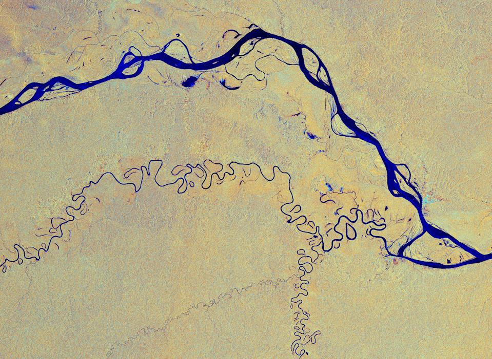 The Copernicus Sentinel-1 satellite captured this image of the Amazon River snaking its way through the Amazon rainforest in South America from space. The colors in this image come from two polarizations from the Copernicus Sentinel-1 radar mission which have been merged into one image.