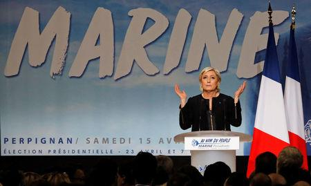 Marine Le Pen, French National Front (FN) political party leader and candidate for French 2017 presidential election, attends a political rally in Perpignan, France, April 15, 2017.  REUTERS/Jean-Paul Pelissier