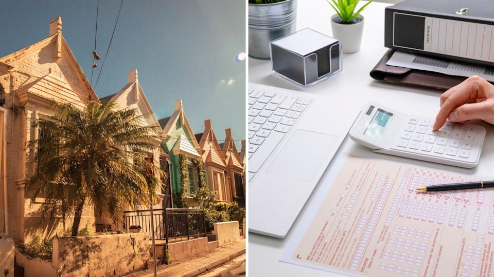 Australian houses on street, desk with calculator, laptop and ATO tax form.